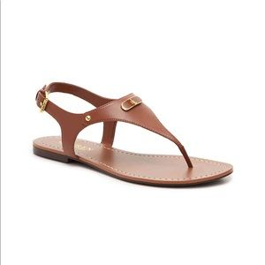 Ralph Lauren Patsi Flat Sandals Cognac Tan Sz 8.5